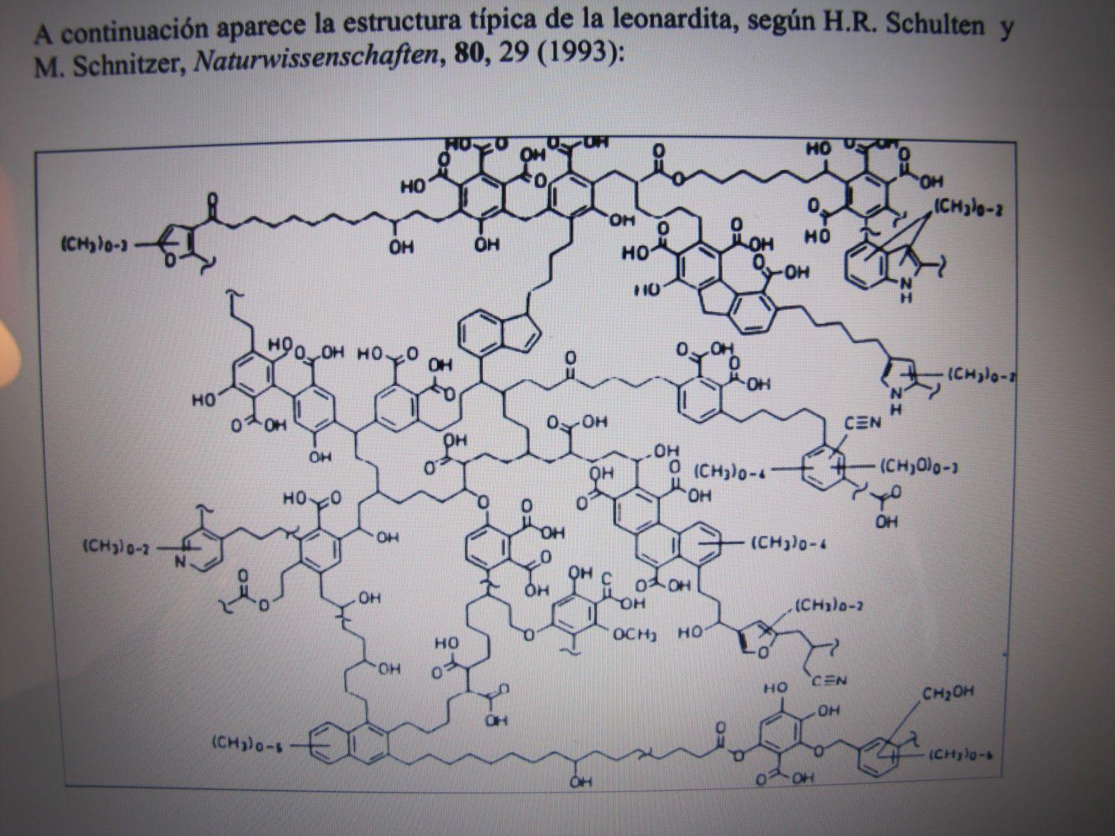Molecula de leonardita materia húmica